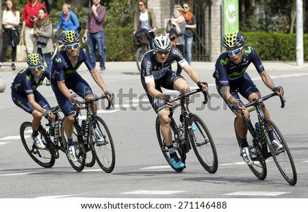 BARCELONA - MARCH, 29: Jose Joaquin Rojas(L), Petr Vakoc(C) and Jose Herrada(R) ride during the Tour of Catalonia cycling race through the streets of Monjuich mountain in Barcelona on March 29, 2015 - stock photo