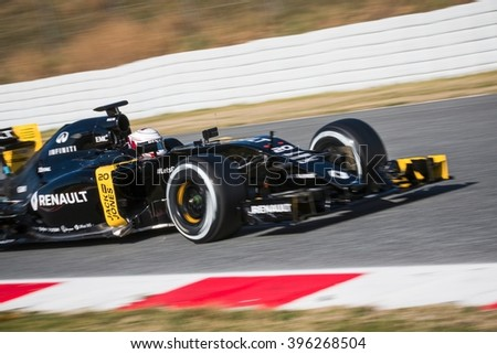 BARCELONA - MARCH 2: Kevin Magnussen of Renault F1 Team at Formula One Test Days at Catalunya circuit on March 2, 2016 in Barcelona, Spain. - stock photo