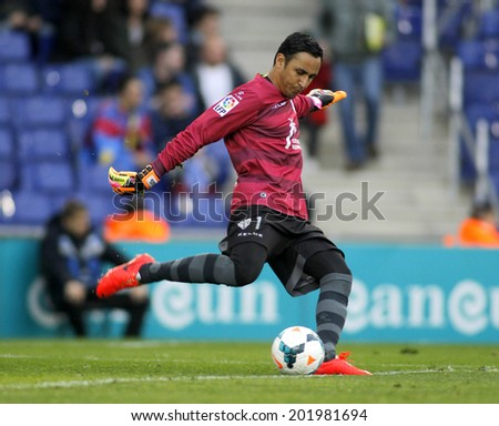 BARCELONA - MARCH, 22: Keylor Navas of UD Levante in action during a match against RCD Espanyol at the Estadi Cornella on March 22, 2014 in Barcelona, Spain - stock photo