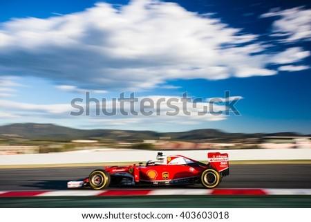 BARCELONA - MARCH 3: Kimi Raikkonen of Ferrari F1 Team at Formula One Test Days at Catalunya circuit on March 3, 2016 in Barcelona, Spain. - stock photo