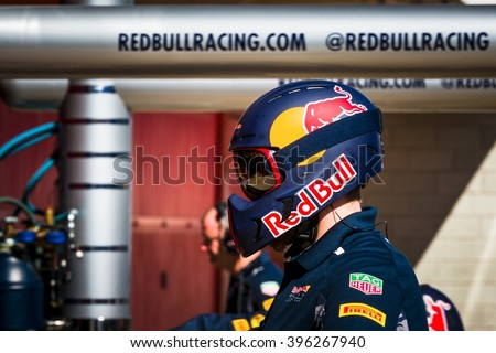 BARCELONA - MARCH 2: Mechanic of Red Bull Racing F1 Team at Formula One Test Days at Catalunya circuit on March 2, 2016 in Barcelona, Spain. - stock photo
