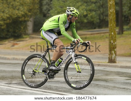 BARCELONA - 30, MARCH: Michel Koch of Cannondale Team rides during the Tour of Catalonia cycling race through the streets of Monjuich mountain in Barcelona on March 30, 2014 - stock photo