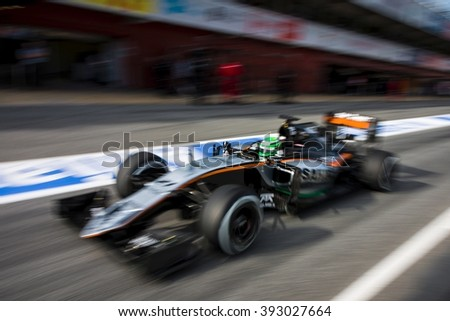 BARCELONA - MARCH 1: Nico Hulkenberg of Force India F1 Team at Formula One Test Days at Catalunya circuit on March 1, 2016 in Barcelona, Spain. - stock photo