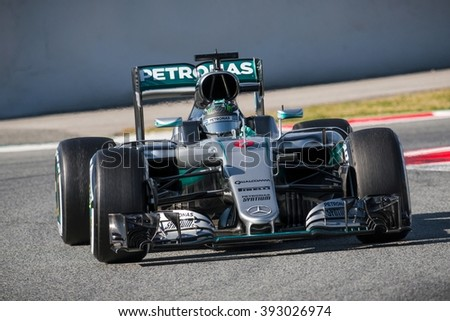 BARCELONA - MARCH 1: Nico Rosberg of Mercedes AMG F1 Team at Formula One Test Days at Catalunya circuit on March 1, 2016 in Barcelona, Spain. - stock photo