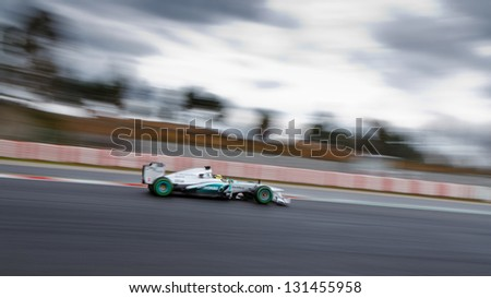 BARCELONA - MARCH 1: Nico Rosberg of Mercedes AMG F1 team during Formula One Test Days at Catalunya circuit on March 1, 2013 in Barcelona, Spain. - stock photo