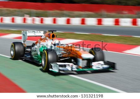 BARCELONA - MARCH 3: Paul di Resta of Sahara Force India F1 team during Formula One Test Days at Catalunya circuit on March 3, 2013 in Barcelona, Spain.