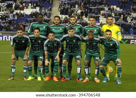 BARCELONA - MARCH, 3: Real Betis lineup before a Spanish League match against RCD Espanyol at the Power8 stadium on March 3, 2016 in Barcelona, Spain - stock photo