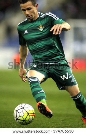 BARCELONA - MARCH, 3: Ruben Castro of Real Betis during a Spanish League match against RCD Espanyol at the Power8 stadium on March 3, 2016 in Barcelona, Spain - stock photo