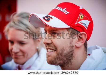 BARCELONA - MARCH 2: Sebastian Vettel of Ferrari F1 Team at Formula One Test Days at Catalunya circuit on March 2, 2016 in Barcelona, Spain. - stock photo