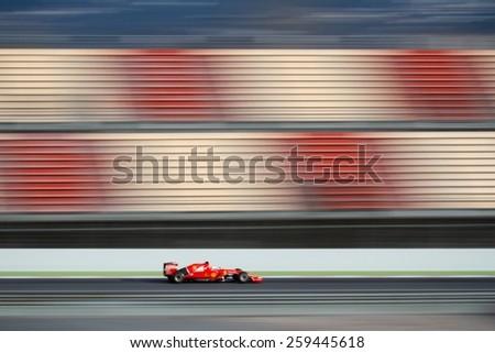 BARCELONA - MARCH 1: Sebastian Vettel of Scuderia Ferrari F1 team at Formula One Test Days at Catalunya circuit on March 1, 2015 in Barcelona, Spain. - stock photo