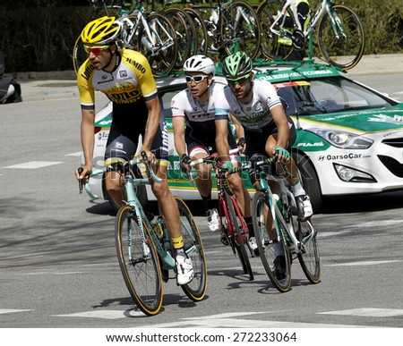 BARCELONA - MARCH, 29: Steven Kruijswijk, Lluis Mas and Fumiyuki Beppu ride during the Tour of Catalonia cycling race through the streets of Monjuich mountain in Barcelona on March 29, 2015 - stock photo