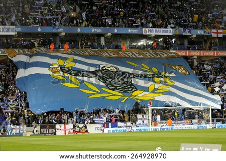 BARCELONA - MARCH, 4: Supporters of Espanyol before a Spanish League match against Athletic Bilbao at the Estadi Cornella on March 4, 2015 in Barcelona, Spain - stock photo
