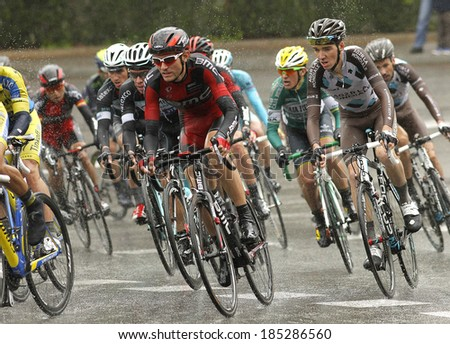BARCELONA - MARCH, 30: Tejay van Garderen of BMC Racing Team rides during the Tour of Catalonia cycling race through the streets of Monjuich mountain in Barcelona on March 30, 2014 - stock photo
