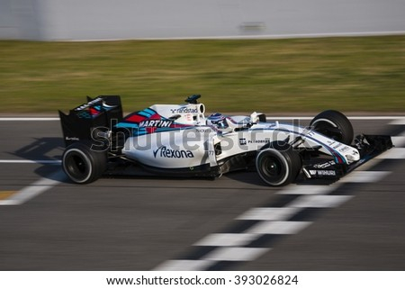 BARCELONA - MARCH 1: Valtteri Bottas of Williams F1 Team at Formula One Test Days at Catalunya circuit on March 1, 2016 in Barcelona, Spain. - stock photo