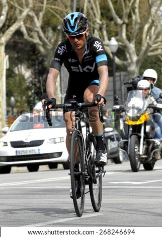 BARCELONA - MARCH, 29: Vasil Kiryienka of Team Sky rides during the Tour of Catalonia cycling race through the streets of Monjuich mountain in Barcelona on March 29, 2015 - stock photo