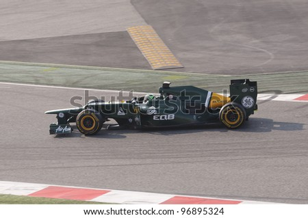 BARCELONA - MARCH 3: Vitaly Petrov of Caterham F1 team racing during Formula One Teams Test Days at Catalunya circuit on March 3, 2012 in Barcelona, Spain.