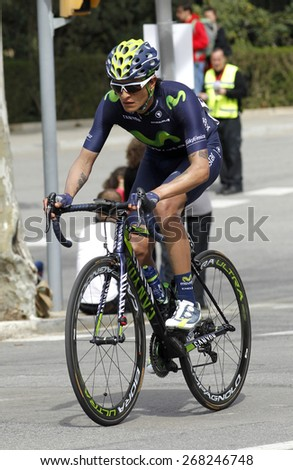 BARCELONA - MARCH, 29: Winner Anacona of Movistar Team rides during the Tour of Catalonia cycling race through the streets of Monjuich mountain in Barcelona on March 29, 2015 - stock photo