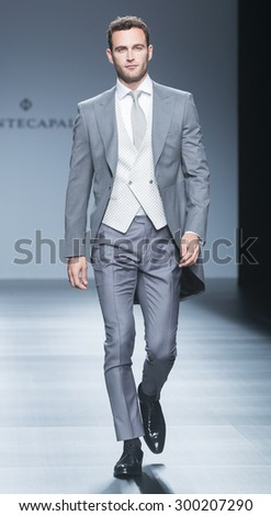 BARCELONA - MAY 08: a model walks on the Fuentecapala bridal collection 2016 catwalk during the Barcelona Bridal Week runway on May 08, 2015 in Barcelona, Spain.  - stock photo