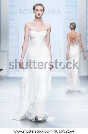 BARCELONA - MAY 05: a model walks on the Rosa Clara bridal collection 2016 catwalk during the Barcelona Bridal Week runway on May 05, 2015 in Barcelona, Spain.  - stock photo