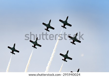 "BARCELONA- MAY 9: Air show  at autodrome ""Catalunya Montmello"" on May 9, 2010 in Barcelona - stock photo"