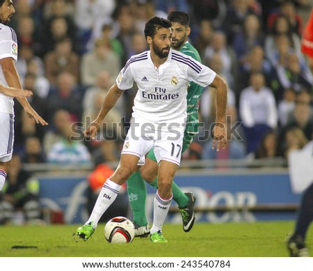 BARCELONA - MAY,11: Alvaro Arbeloa of Real Madrid during the Spanish League match between Espanyol and Real Madrid at the Estadi Cornella on May 11, 2013 in Barcelona, Spain - stock photo