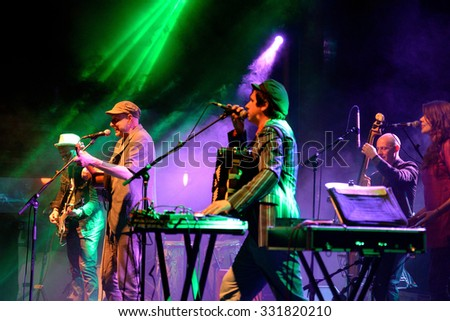 BARCELONA - MAY 27: Antibalas (afrobeat band) performance at Heineken Primavera Sound 2014 Festival (PS14) on May 27, 2014 in Barcelona, Spain. - stock photo