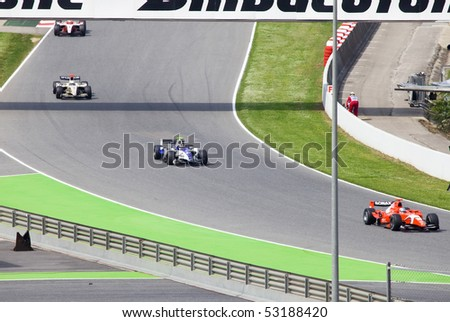 BARCELONA - MAY 9: Automobiles of stage are fleet GP2 on line  on may 9, 2010  in Barcelona, Spain - stock photo