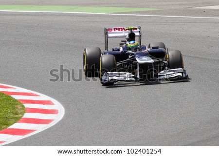 BARCELONA - MAY 12: Bruno Senna of Williams F1 team racing at Qualifying Session of Formula One Spanish Grand Prix at Catalunya circuit, on May 12, 2012 in Barcelona, Spain.