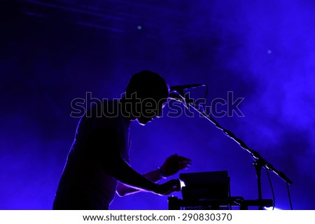 BARCELONA - MAY 30: Caribou (electronic band) performs at Primavera Sound 2015 Festival on May 30, 2015 in Barcelona, Spain. - stock photo