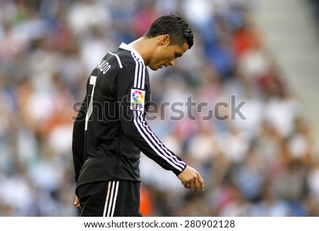 BARCELONA - MAY, 17: Cristiano Ronaldo of Real Madrid during a Spanish League match against RCD Espanyol at the Power8 stadium on Maig 17 2015 in Barcelona Spain - stock photo