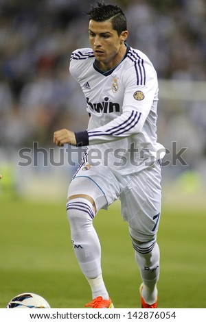 BARCELONA - MAY, 11: Cristiano Ronaldo of Real Madrid during the Spanish League match between Espanyol and Real Madrid at the Estadi Cornella on May 11, 2013 in Barcelona, Spain - stock photo