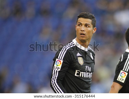 BARCELONA - MAY, 2015: Cristiano Ronaldo of Real Madrid of during a Spanish League match against RCD Espanyol at the Power8 stadium on Maig 17 2015 in Barcelona Spain - stock photo