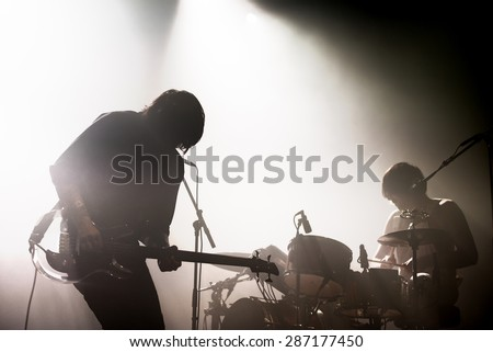 BARCELONA - MAY 29: Death From Above 1979 (punk rock band) in concert at Primavera Sound 2015 Festival on May 29, 2015 in Barcelona, Spain. - stock photo