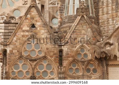 BARCELONA, May 27: Exterior details of the Sagrada Familia church in Barcelona, Catalonia, May 27th 2013.Designed by Catalan architect Antoni Gaudi - stock photo