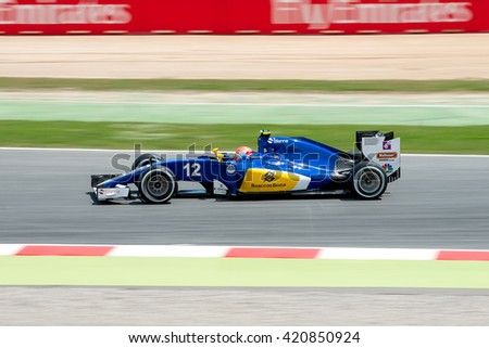 BARCELONA - MAY 13: Felipe Nasr drives the Sauber F1 Team car on track for the Spanish Formula One Grand Prix at Circuit de Catalunya on May 13, 2016 in Barcelona, Spain. - stock photo