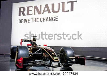 BARCELONA - MAY 18: Formula one Lotus Renault GP at the 36th Intnerational Motor Show in Barcelona on May 18, 2011. - stock photo