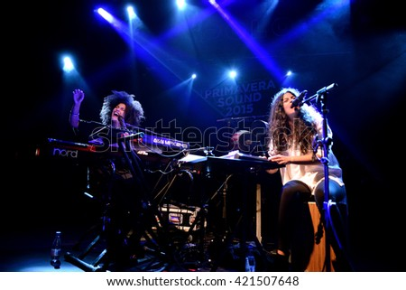 BARCELONA - MAY 26: Ibeyi (soul and contemporary rhythm and blues cuban band) in concert at Apolo stage Primavera Sound 2015 Festival (PS15) on May 26, 2015 in Barcelona, Spain. - stock photo
