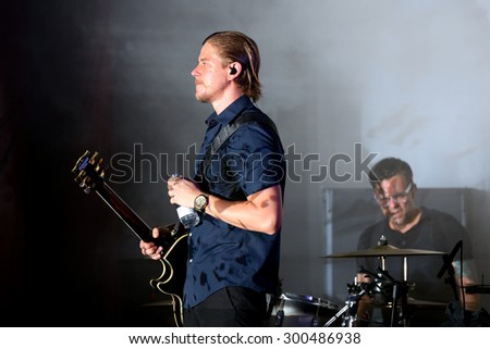 BARCELONA - MAY 28: Interpol (alternative indie rock band from New York) in concert at Primavera Sound 2015 Festival, Apolo stage, on May 28, 2015 in Barcelona, Spain. - stock photo