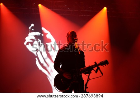 BARCELONA - MAY 30: Interpol (band) performs at Primavera Sound 2015 Festival on May 30, 2015 in Barcelona, Spain. - stock photo