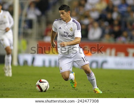 BARCELONA - MAY,11: James Rodriguez of Real Madrid during the Spanish Kings Cup match against UE Cornella at the Estadi Cornella on October 29, 2014 in Barcelona, Spain - stock photo