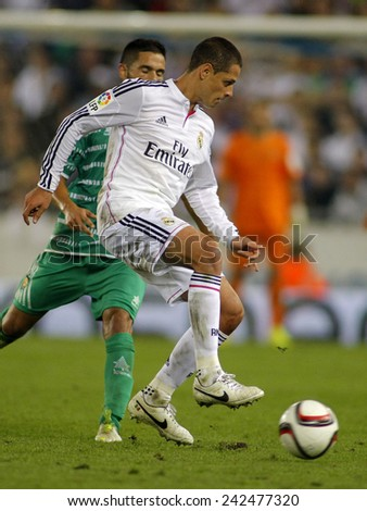 BARCELONA - MAY,11: Javier Chicharito Hernandez of Real Madrid during the Spanish Kings Cup match against UE Cornella at the Estadi Cornella on October 29, 2014 in Barcelona, Spain - stock photo