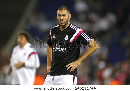 BARCELONA - MAY,11: Karim Benzema of Real Madrid before the Spanish Kings Cup match against UE Cornella at the Estadi Cornella on May 11, 2014 in Barcelona, Spain - stock photo