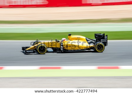 BARCELONA - MAY 13: Kevin Magnussen drives the Renault Sport F1 Team car on track for the Spanish Formula One Grand Prix at Circuit de Catalunya on May 13, 2016 in Barcelona, Spain. - stock photo