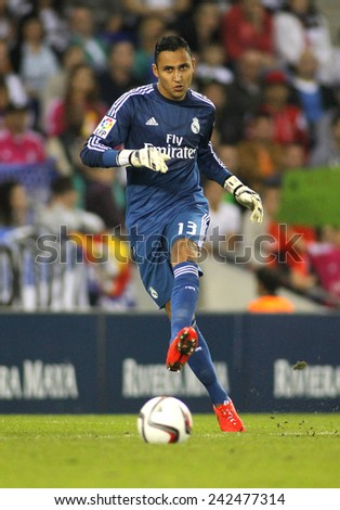 BARCELONA - MAY,11: Keylor Navas of Real Madrid during the Spanish Kings Cup match against UE Cornella at the Estadi Cornella on October 29, 2014 in Barcelona, Spain - stock photo