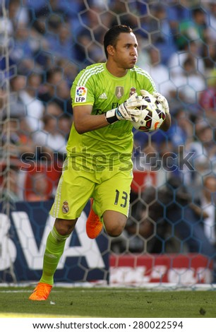 BARCELONA - MAY, 17: Keylor Navas of Real Madrid of during a Spanish League match against RCD Espanyol at the Power8 stadium on Maig 17 2015 in Barcelona Spain - stock photo