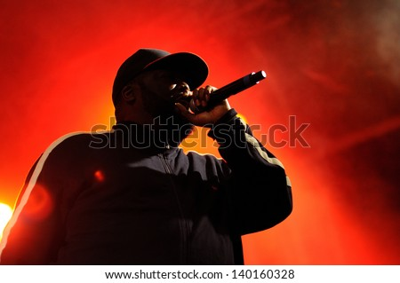 BARCELONA - MAY 23: Killer Mike, a rapper, performs at Heineken Primavera Sound 2013 Festival, Pitchfork Stage, on May 23, 2013 in Barcelona, Spain. - stock photo
