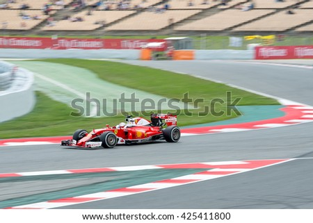 BARCELONA - MAY 13: Kimi Raikkonen  drives the Scuderia Ferrari car on track for the Spanish Formula One Grand Prix at Circuit de Catalunya on May 13, 2016 in Barcelona, Spain.