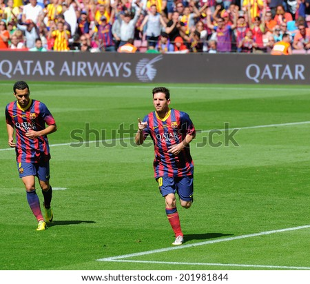 BARCELONA - MAY 03: Leo Messi, F.C. Barcelona footballer, celebrate his goal against Getafe Club de Futbol at the Camp Nou Stadium on the Spanish League on May 3, 2014 in Barcelona, Spain. - stock photo