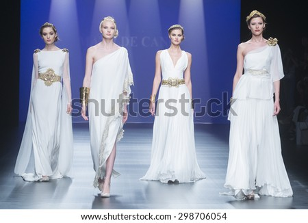 BARCELONA - MAY 07: models walking on the Matilde Cano bridal collection 2016 catwalk during the Barcelona Bridal Week runway on May 07, 2015 in Barcelona, Spain.  - stock photo