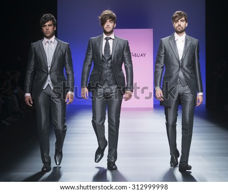 BARCELONA - MAY 06: models walking on the Miquel Suay bridal collection 2016 catwalk during the Barcelona Bridal Week runway on May 06, 2015 in Barcelona, Spain.  - stock photo